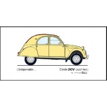 carte postale L'indispensable … 2cv AZLP 1962 (210x105mm)