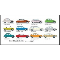 carte postale Citroën Evolution (210x105mm)